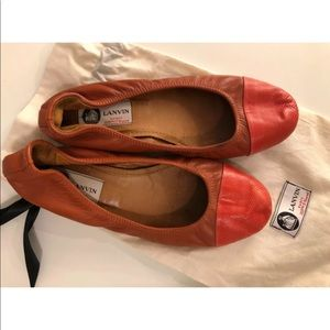 Lanvin Chestnut Leather Ballet Flats